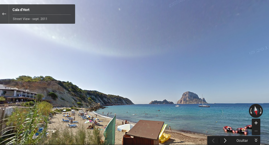 Vista de la playa de Cala d'Hort mediante Google Street View